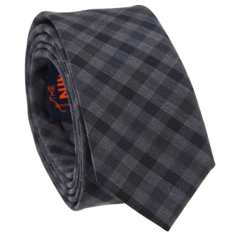Slim tie with Black and Grey Vichy The Nines
