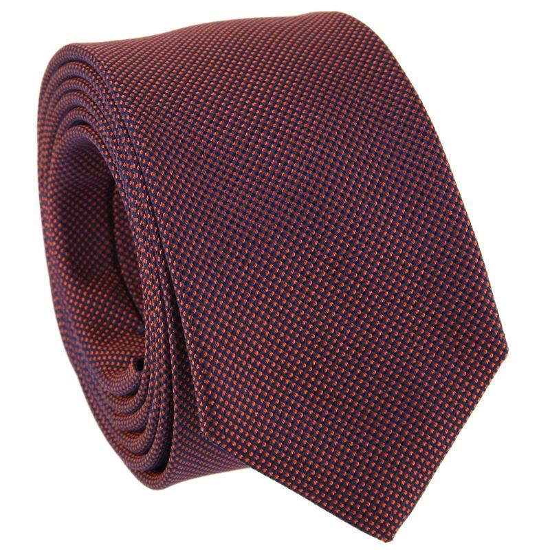 Navy Blue and Orange Slim tie in Basket Weave Silk