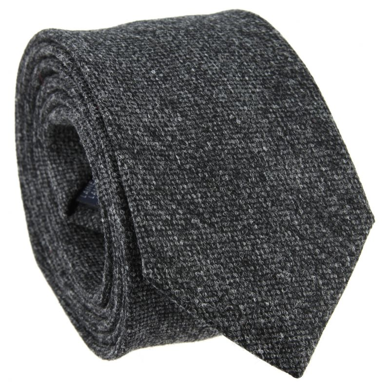 Heather Anthracite Grey Tie in Wool and Silk