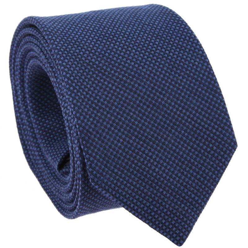 Navy Blue And Blue Tie in Silk and Wool Basket Weave