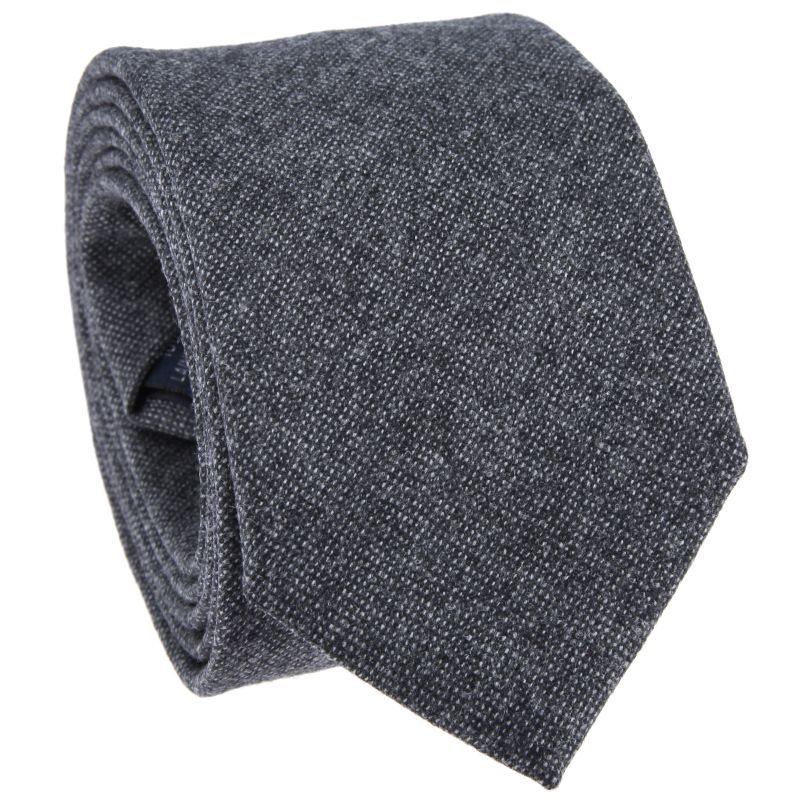 Anthracite Grey Tie with Semi Plain in Flannel