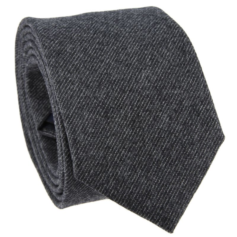 Anthracite Grey Tie with Grey Light Stripes in Flannel