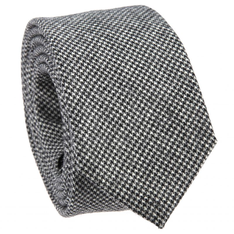 Grey Tie with Houndstooth in Wool The Nines