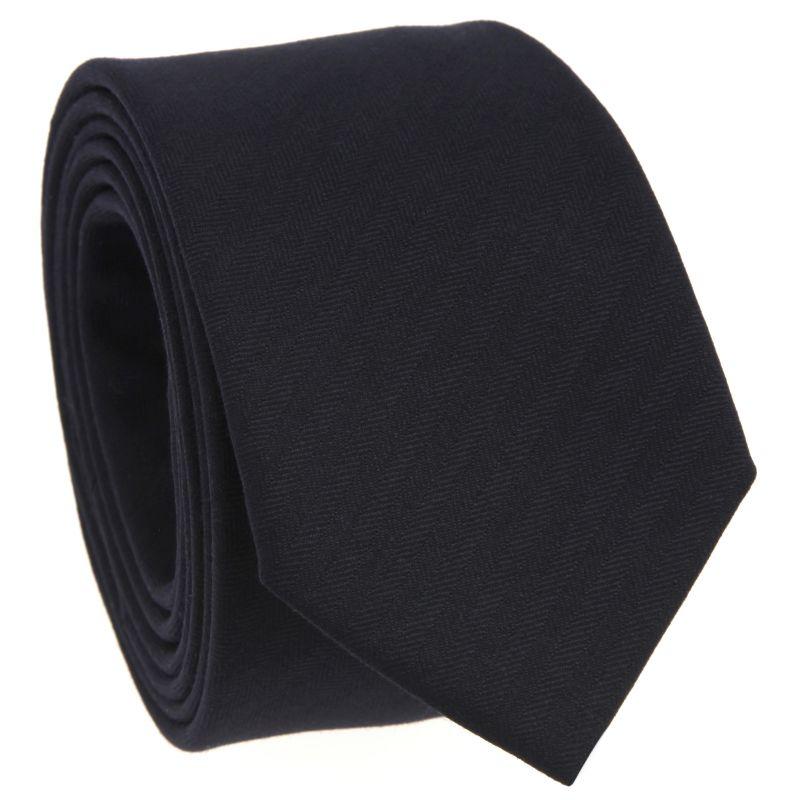 Navy Blue Tie with Herringbone in Wool
