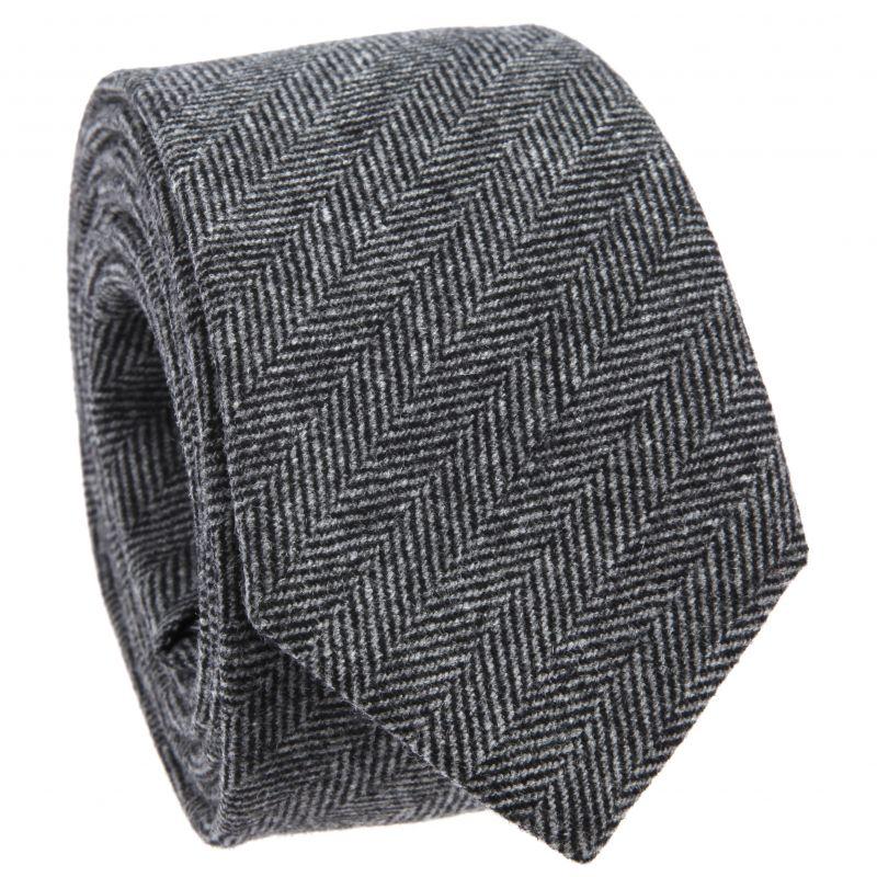 Grey Tie with Herringbone in Flannel