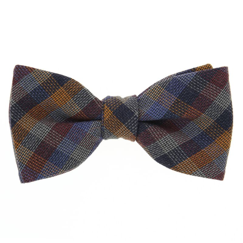 Blue Bow Tie with Burgundy and Orange Checked The Nines