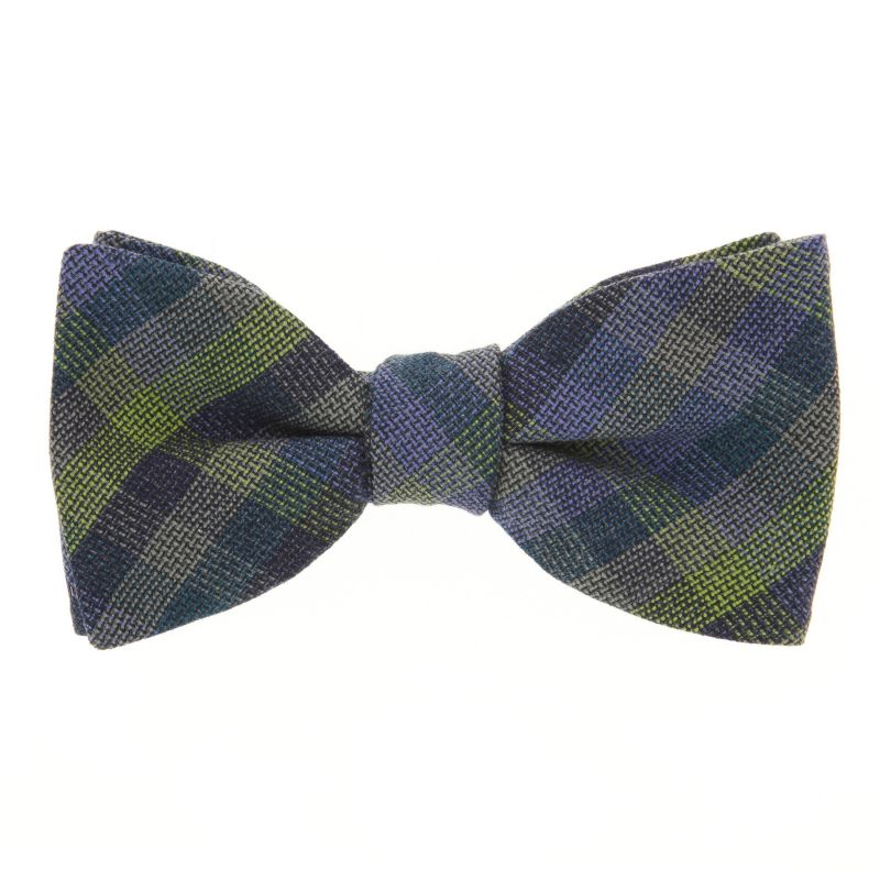 Blue Bow Tie with Green Checked The Nines