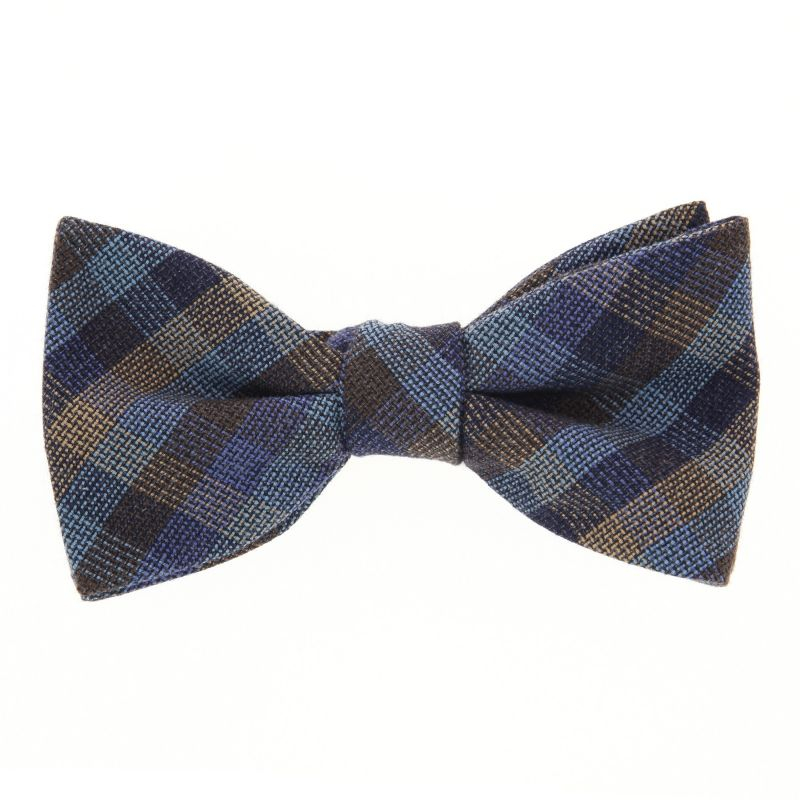Blue Bow Tie with Brown and Orange Checked The Nines