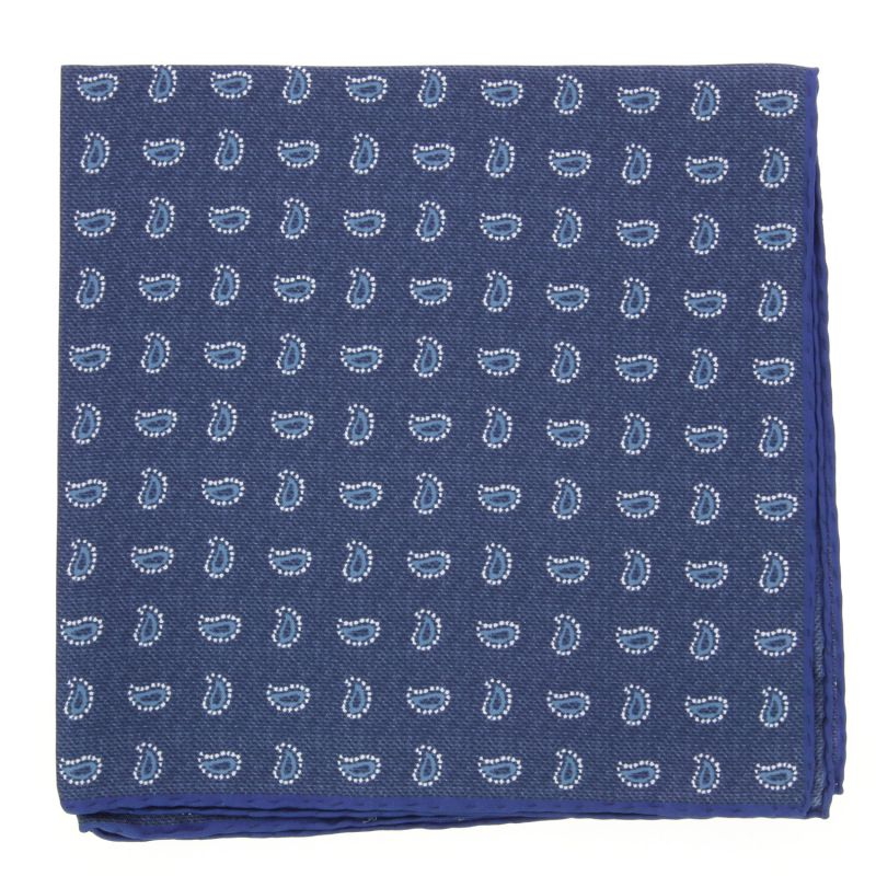 Dark Blue Pocket Square withBlue Paisley Pattern in Silk