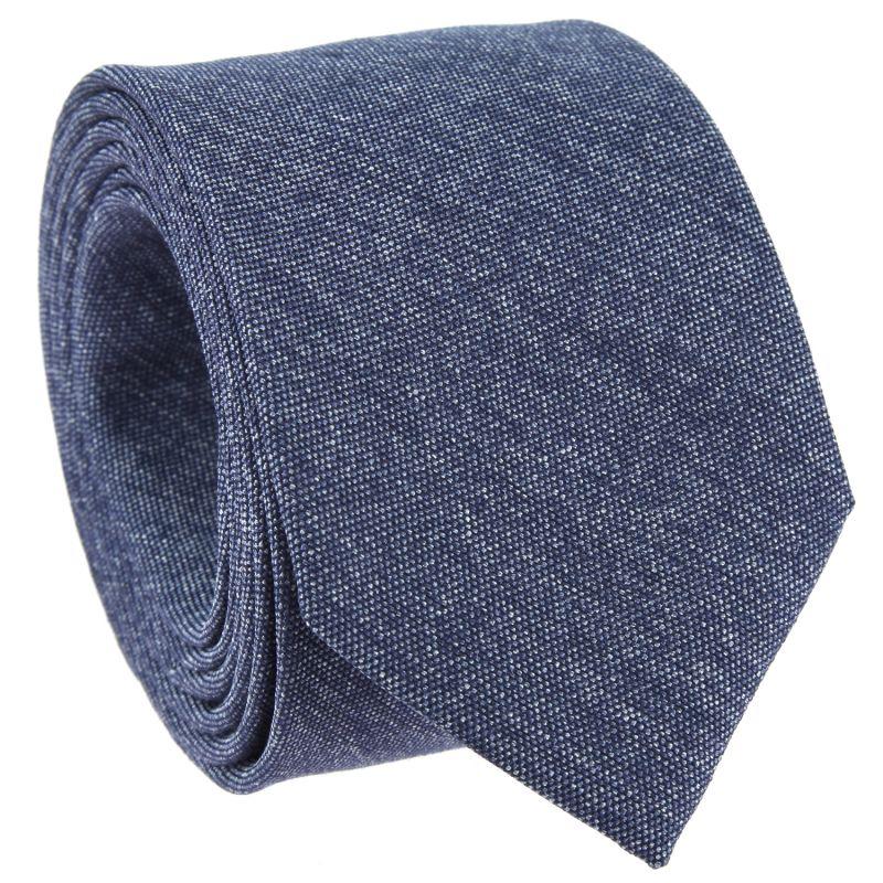 Denim Blue Tie in Basket Weave Silk