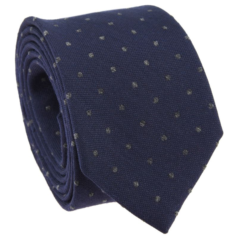 Navy Blue Tie with Grey Dots in Wool and Silk