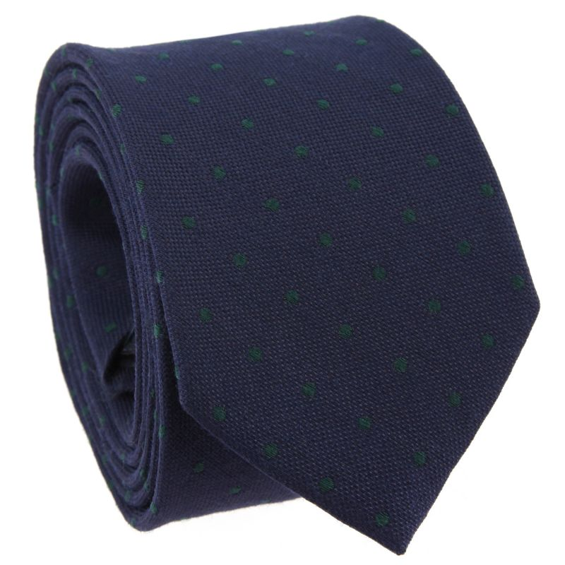 Navy Blue Tie with Dots in Wool and Silk