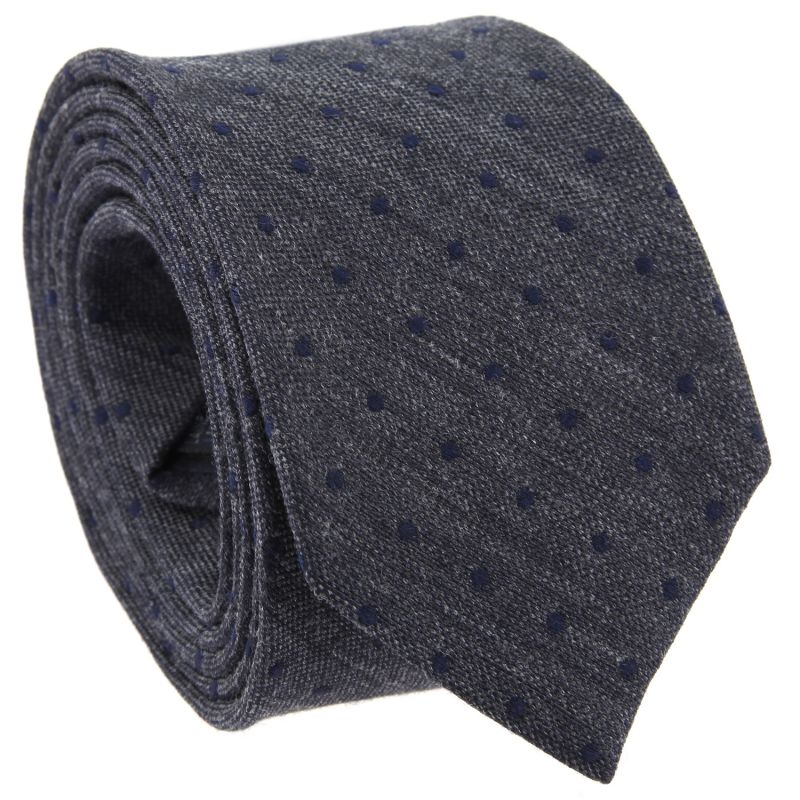 Grey Tie with Navy Blue Dots in Wool and Silk