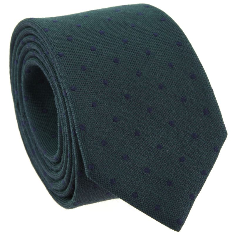 Green Tie with Navy Blue Dots in Wool and Silk