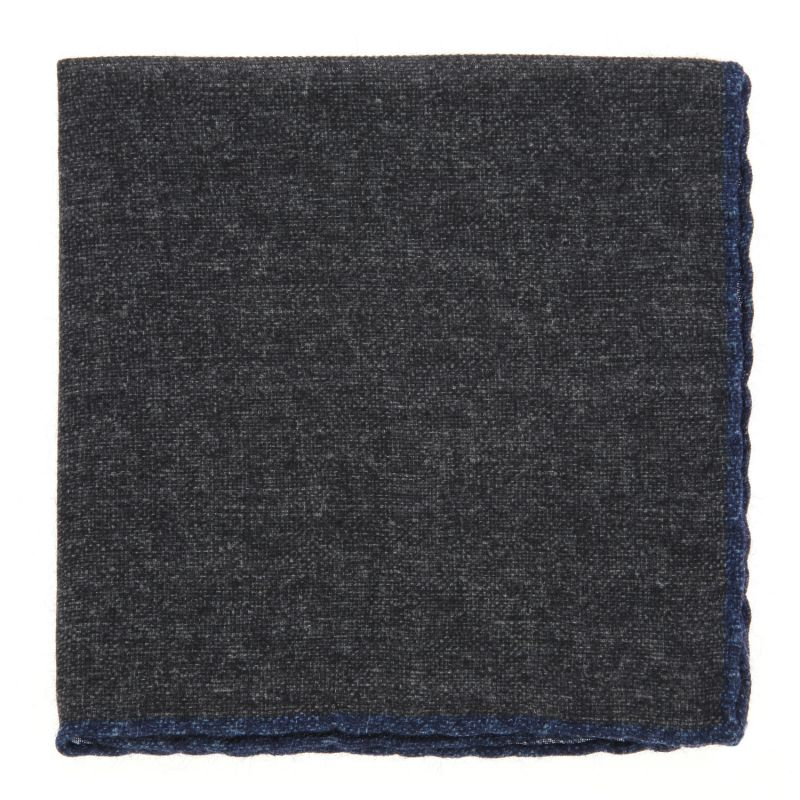 Grey Pocket Square with Denim Blue hemlines in Wool