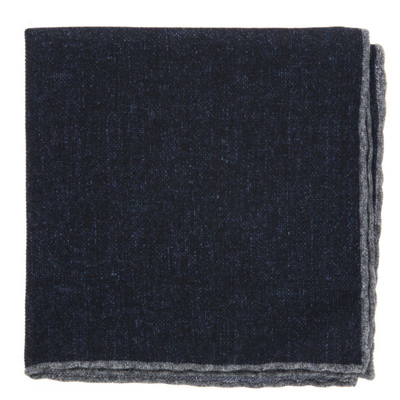 Navy Blue Pocket Square with Grey hemlines in Wool