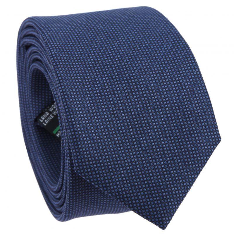 Navy Blue Tie with Bird's Eye pattern in Wool