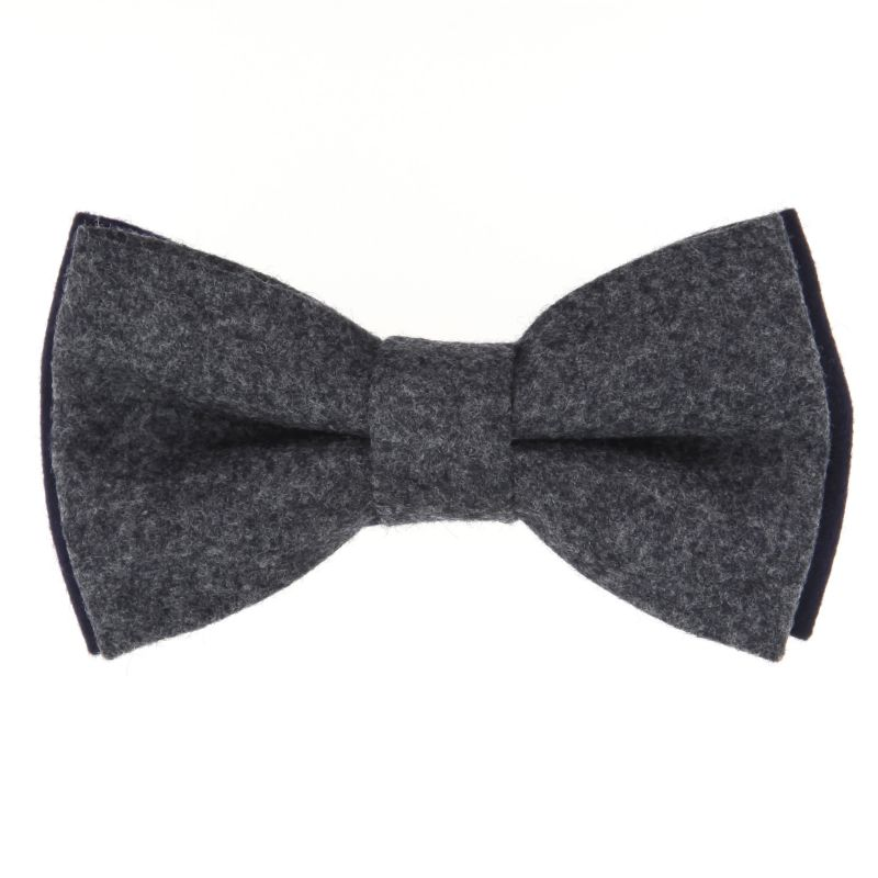 Grey And Navy Blue Bicolor Bow Tie in Flannel