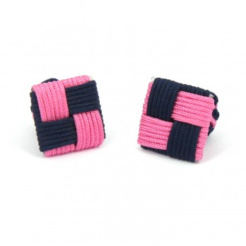 Navy blue/pink Square silk knots - Manila