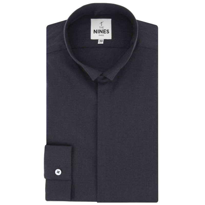 Anthracite Grey reverse collar oxford shirt