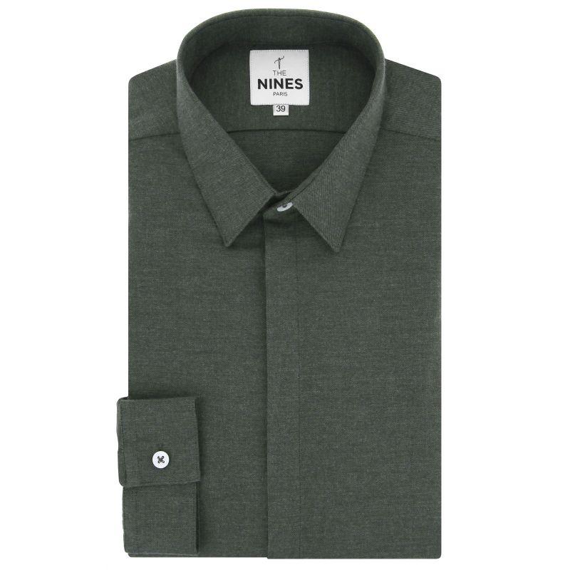 Kakhi green French collar flannel shirt