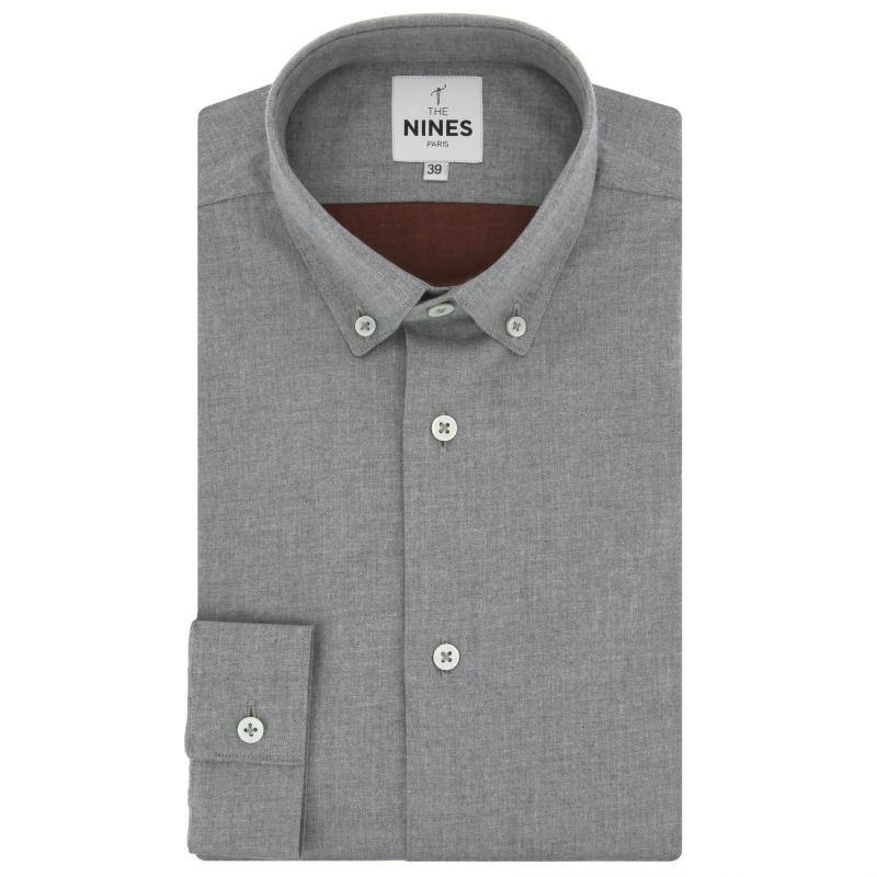 Grey button down collar flannel shirt