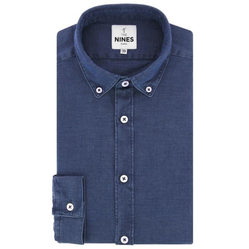 Blue button down collar textured chambray shirt