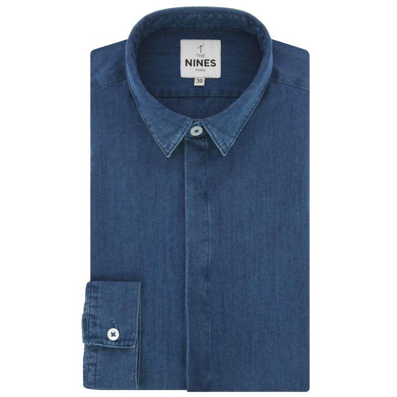Blue French collar lyocell chambray shirt