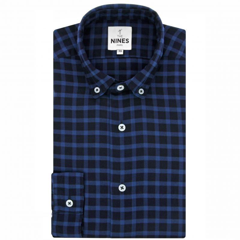 Blue button down collar tartan flannel shirt
