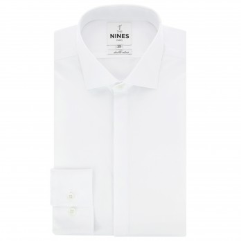 White shark collar poplin shirt with hidden placket