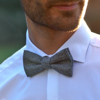 Grey Bow Tie with Houndstooth in Wool The Nines