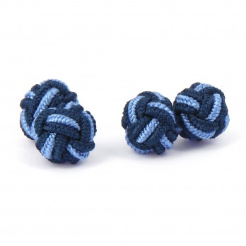 Navy blue and light blue silk knots - Bombay