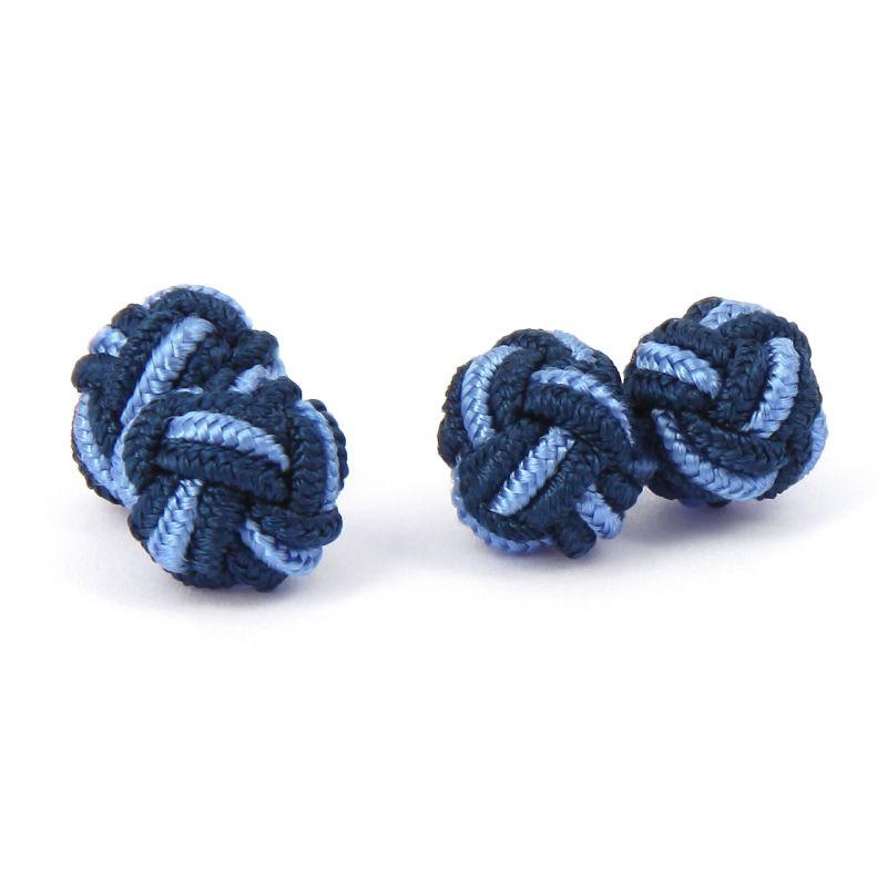Navy Blue Knot Silk Cufflinks