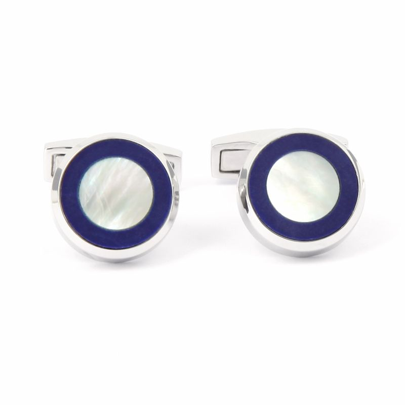 Round blue mother-of-pearl and sterling silver cufflinks - Nui