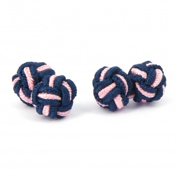 Navy blue and pink silk knots - Bombay