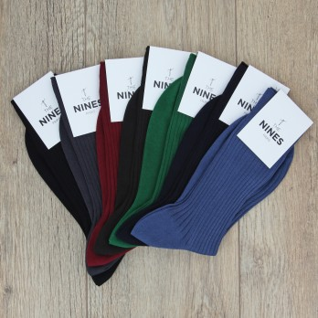 Pack of 7 pairs of mercerised cotton lisle socks, classical colours