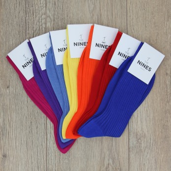 Pack of 7 pairs of mercerised cotton lisle socks, bright colours