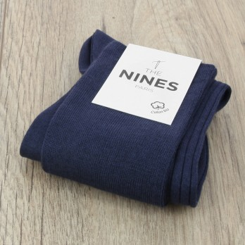 Night blue organic Giza cotton knee socks