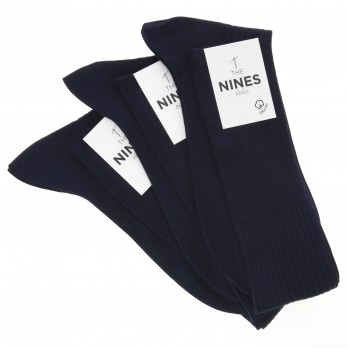Pack of 3 navy blue organic Giza cotton knee socks