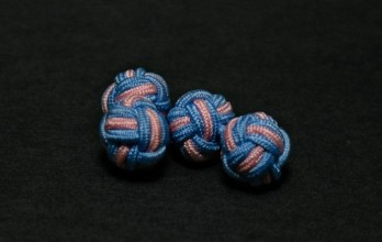 Pink and sky blue silk knots - Bombay
