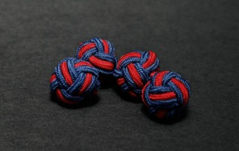 Navy blue and red silk knots - Bombay