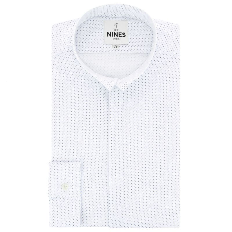 White reverse collar with blue dots shirt