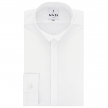 White reverse collar bio-cotton oxford shirt