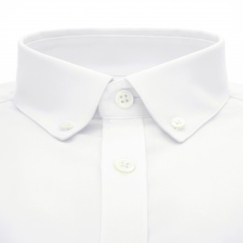 White button down collar bio-cotton oxford shirt