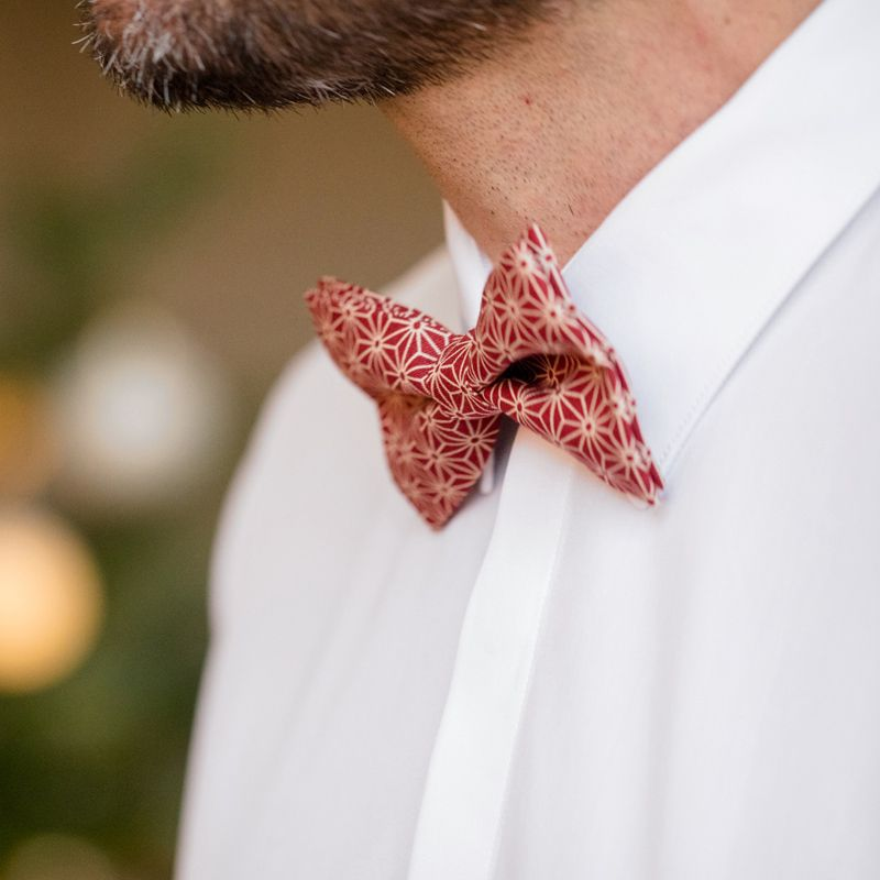 1dcb4e3b95e2 ... Red Bow Tie with Geometric Pattern in Japanese Cotton ...