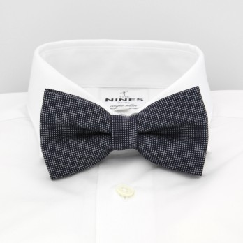 Navy Blue And Grey Bow Tie with Semi Plain in Wool and Silk