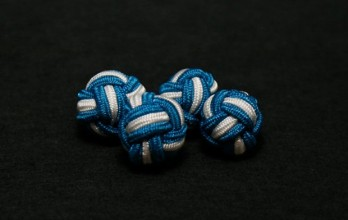 White and teal silk knots - Bombay