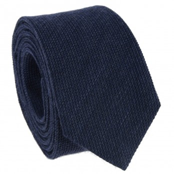 Navy Blue Tie in Grenadine Silk and Wool