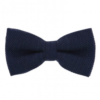 Navy Blue Bow Tie in Grenadine Silk and Wool