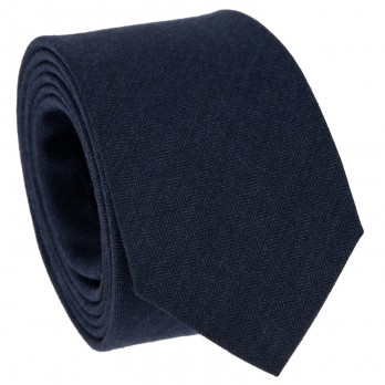 Navy Blue Tie with Criss-Cross Pattern in Wool and Silk